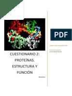 Cuestionario Proteínas estructura y Función