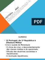 I2. (9.3) Portugal Da 1ª República à Ditadura Militar