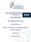 AD EHS RI - CoP - 30.0 - Lone Working and or in Remote Locations