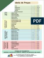 Tabela de Preços 2015