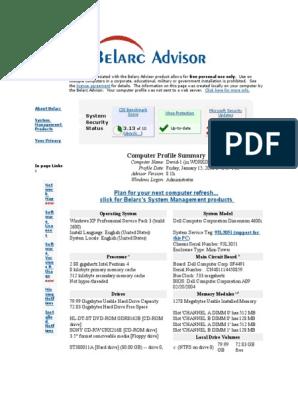 Belarc Advisor Current Profile | Windows Xp | Microsoft Windows