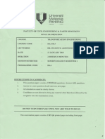 BAA 4413 Transportation Engineering Final Exam Paper