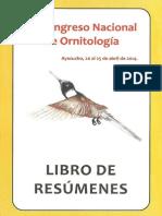 Libro de Resumenes IX Congreso Nacional de Ornitología, Ayacucho 2014