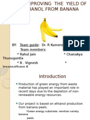 Improving the Yield of Bioethanol From Banana Peels | Starch