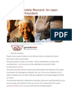 Maithri's Mandela Moment an Open Letter to the President