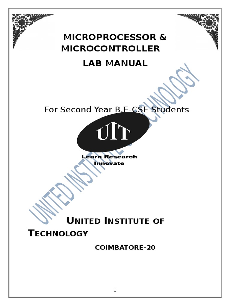 Microprocessor LAB MANUAL Reg-2013 | Assembly Language | Binary Coded  Decimal