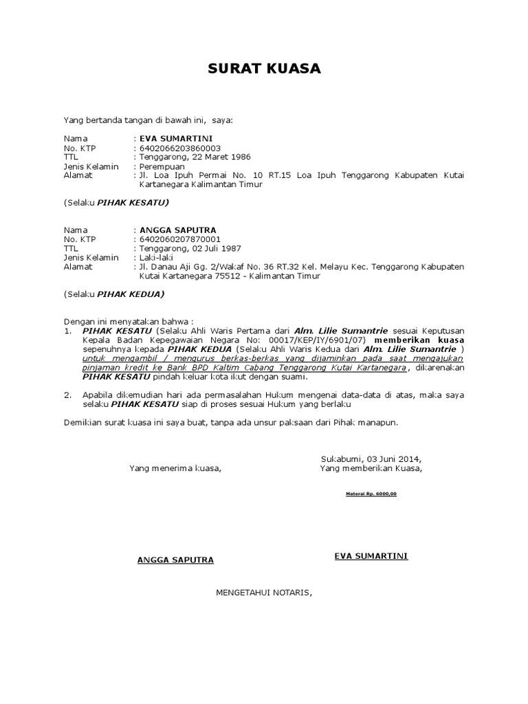 Contoh Surat Kuasa Ahli Waris Taspen - Edukasi.Lif.co.id