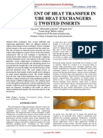 Enhancement of Heat Transfer in Tube-In-tube Heat Exchangers Using Twisted Inserts
