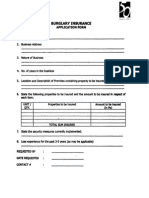 Burglary Insurance Application Form