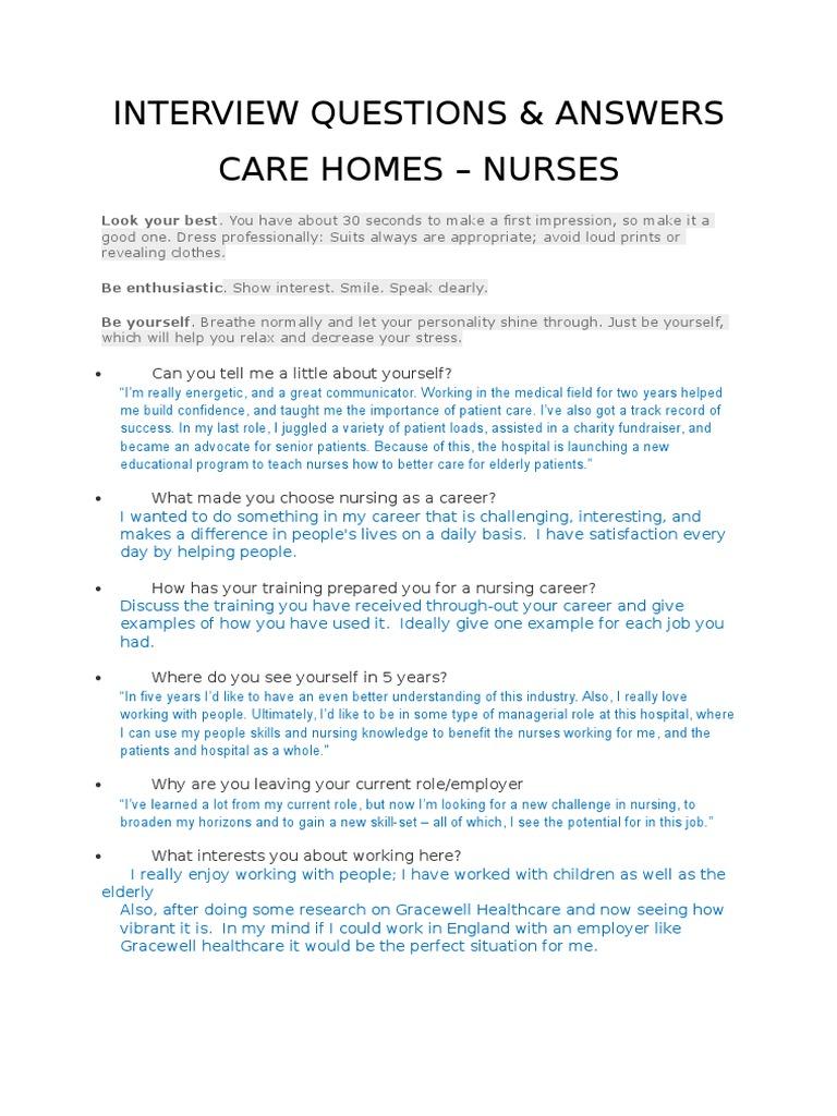 Great Interview Questions | Nursing | Nursing Home Care