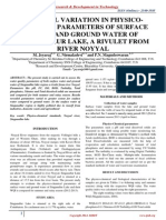 SEASONAL VARIATION IN PHYSICO-CHEMICAL PARAMETERS OF SURFACE WATER AND GROUND WATER OF SINGANALLUR LAKE, A RIVULET FROM RIVER NOYYAL