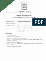 LEGT2751 Business Taxation Sem 1 2012
