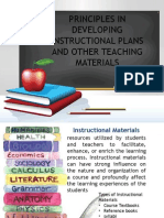Principles in Developing Instructional Plans and Other Teaching