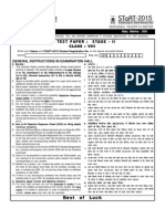 STaRT 2015 Sample Test Paper Clsss 8 Stage-II