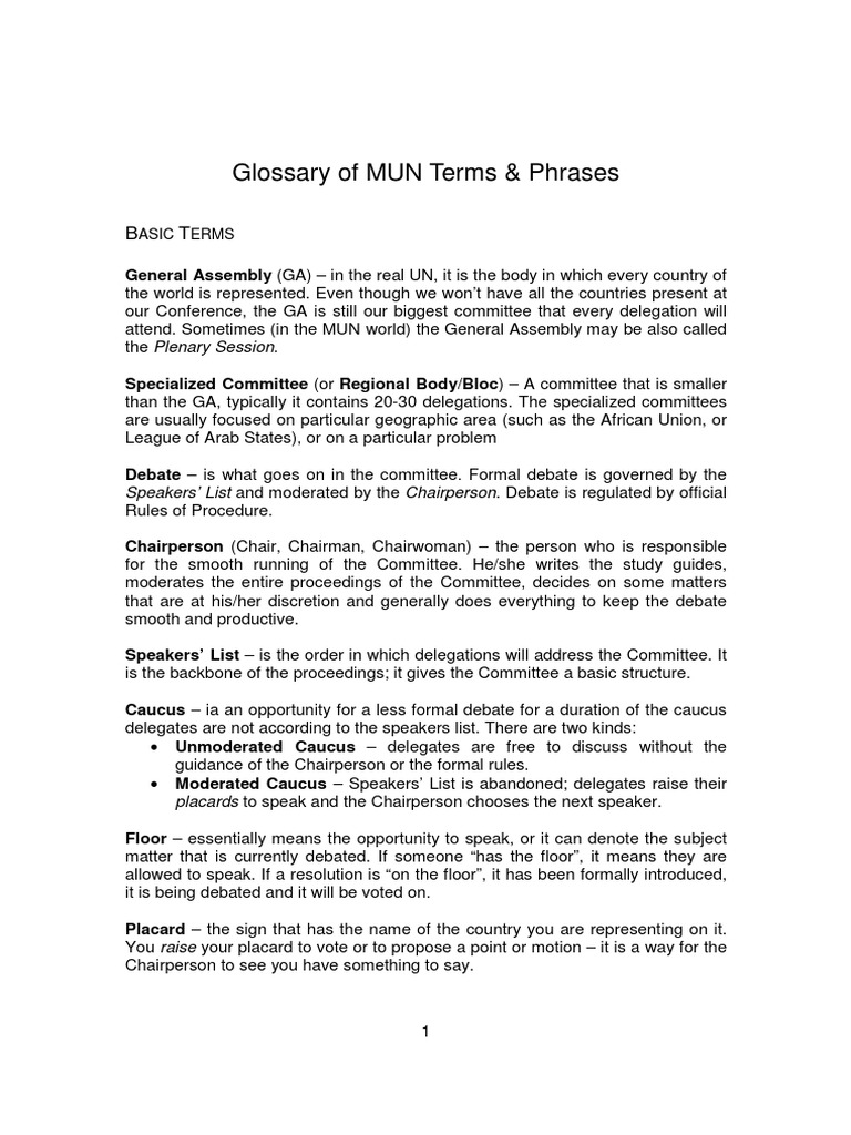 Glossary of mun terms phrases chairman public law biocorpaavc Images