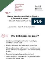 Journal Club 010310 Maths in Phys