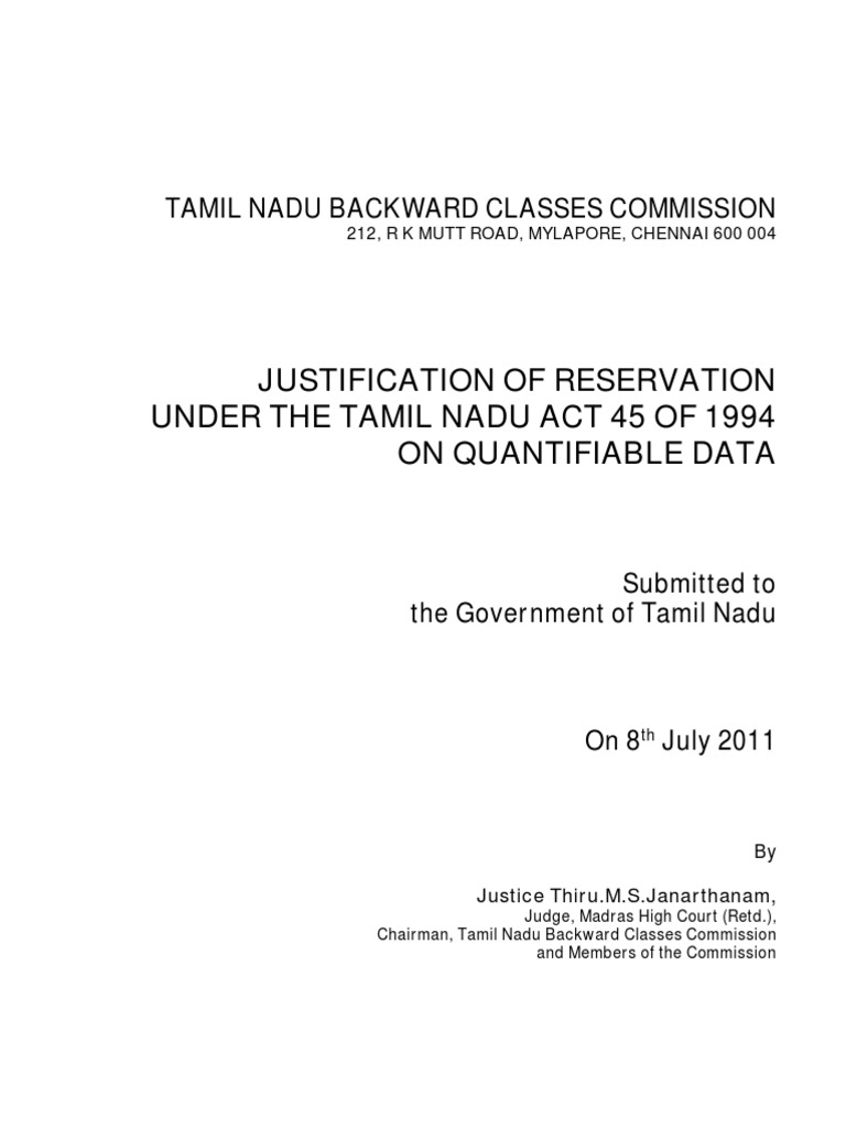 tamilnadu report on justification of reservationobc supreme court