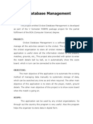 Synopsis Cricket Database Management 2 | Microsoft Sql Server
