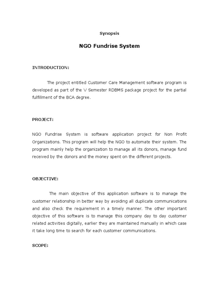 Synopsis NGO Fundrise System | Newspapers | Microsoft Sql Server