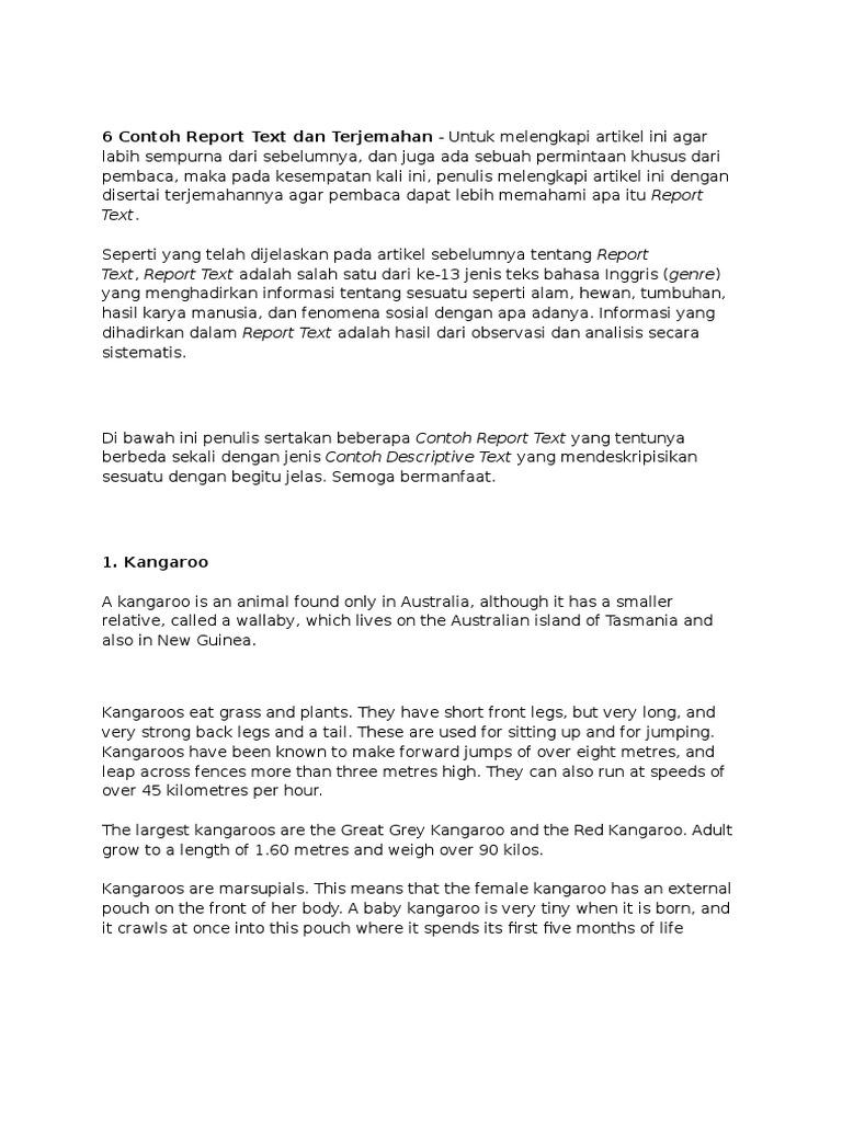 6 Contoh Report Text Dan Terjemahan