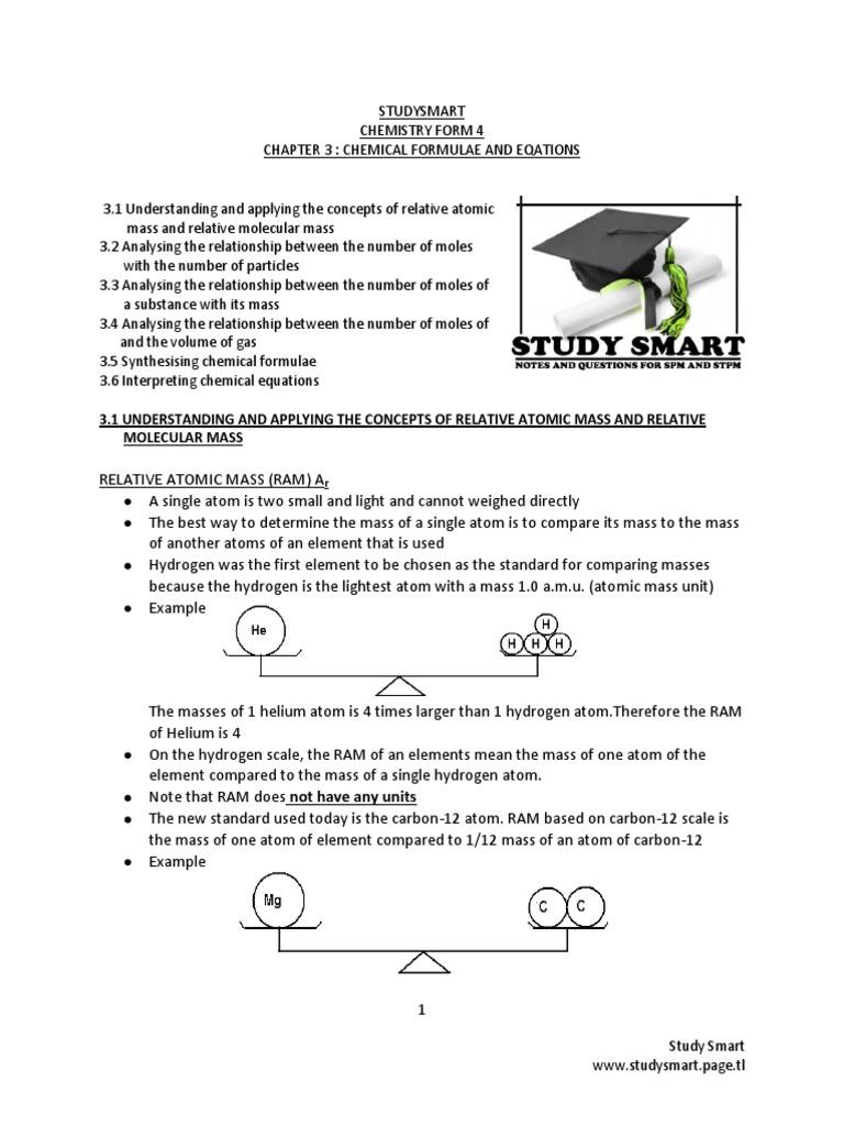 CHEMISTRY SPM FORM 4 Short Notes Chapter 3 CHEMICAL FORMULAE
