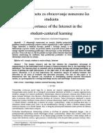 Značaj Interneta Za Obrazovanje Usmereno Ka Studentu