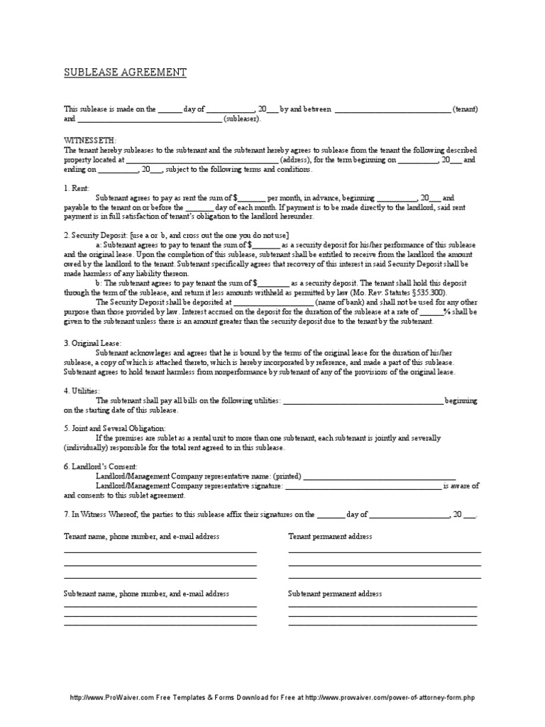 Missouri Sublease Agreement Form Lease Leasehold Estate