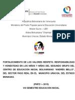 FORTALECIMIENTO DE LOS VALORES DE RESPETO, RESPONSABILIDAD Y HONESTIDAD