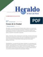 18/01/2015 Columna Cosas de La Ciudad-El Heraldo