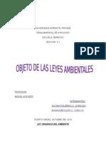 Objeto de Las Leyes Ambientales 15 Leyes