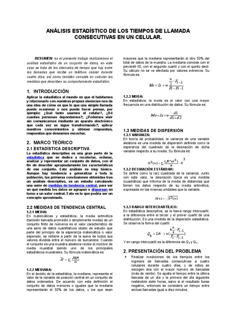 Análisis Estadístico de Los Tiempos de Llamada Consecutivas en Un ...