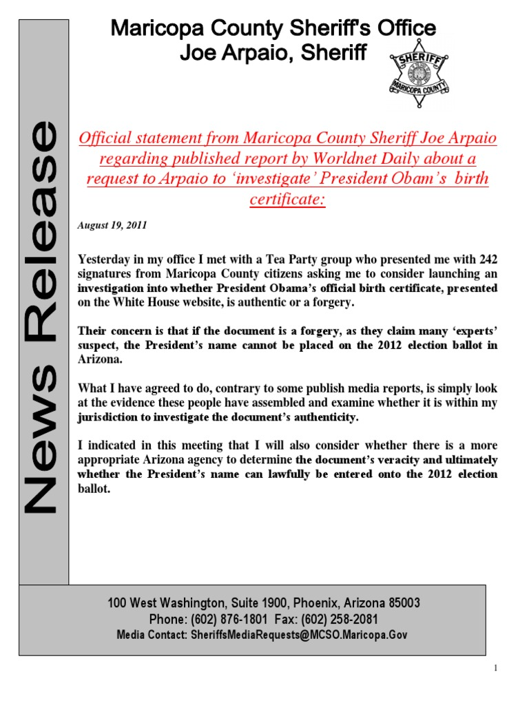 Obama birth certificate forgery sheriff arpaio pr 2011 08 09 xflitez Gallery