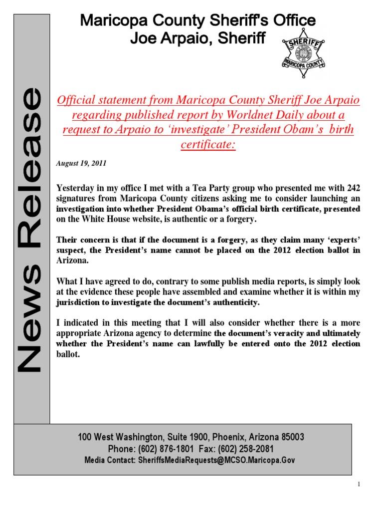 Obama Birth Certificate Forgery Sheriff Arpaio Pr 2011 08 09