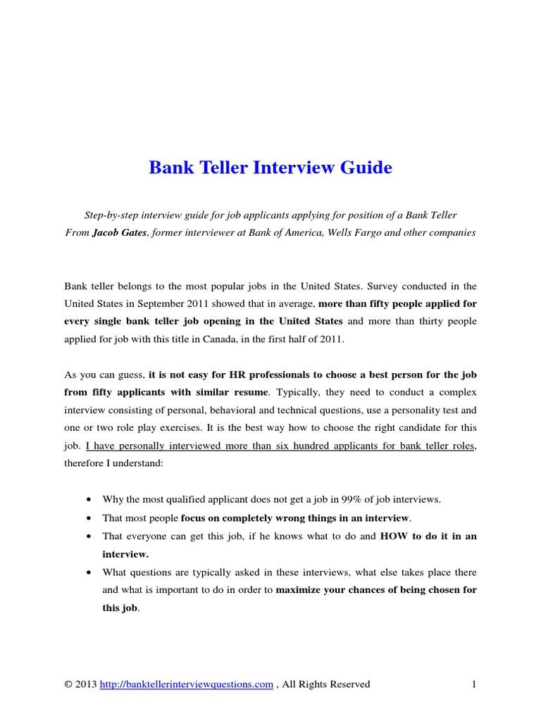 Bank Teller Interview Guide Resume Job Interview