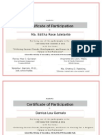 Sample Certificares
