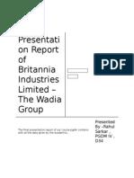 Presentation Report of Britannia Industries Limited