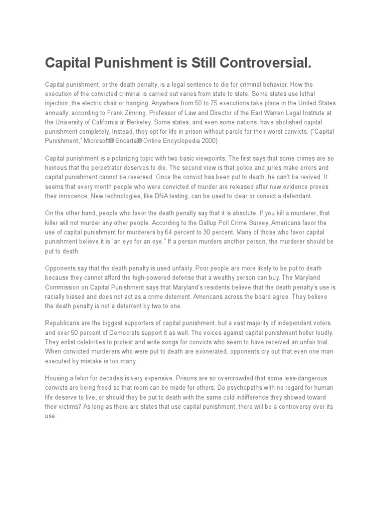 capital punishment a probel beyond repair essay The use of capital punishment greatly deters citizens from committing crimes such as murder death penalty persuasive essay | shannon rafferty e-portfolio.