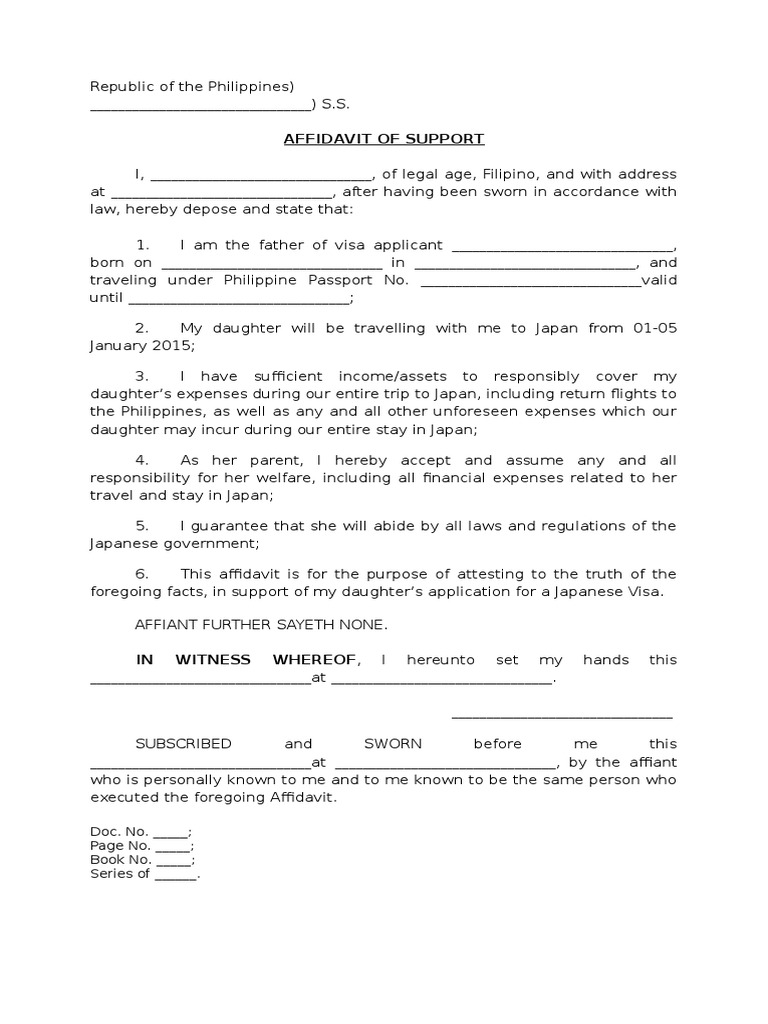 Affidavit Of Support (Philippines)