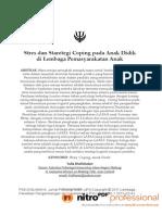Stres Dan Staretegi Coping Pada Anak Didik Di Lembaga Pemasyarakatan Anak