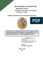 ESTUDIO DE COORDINACIÓN DE AISLAMIENTO POR SOBRETENSIONES DE ORIGEN ATMOSFÉRICO EN LA LÍNEA MACHUPICCHU - QUILLABAMBA EN 60 KV