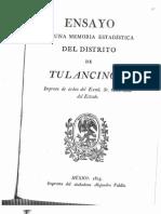 Ensayo de Una Memoria Estadística del Distrito de Tulancingo