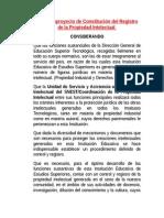 Proyecto de Constitución Del Registro de La Propiedad Intelectual en El TecNm