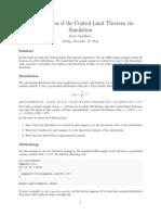 Comprobation of the Central Limit Theorem via Simulation