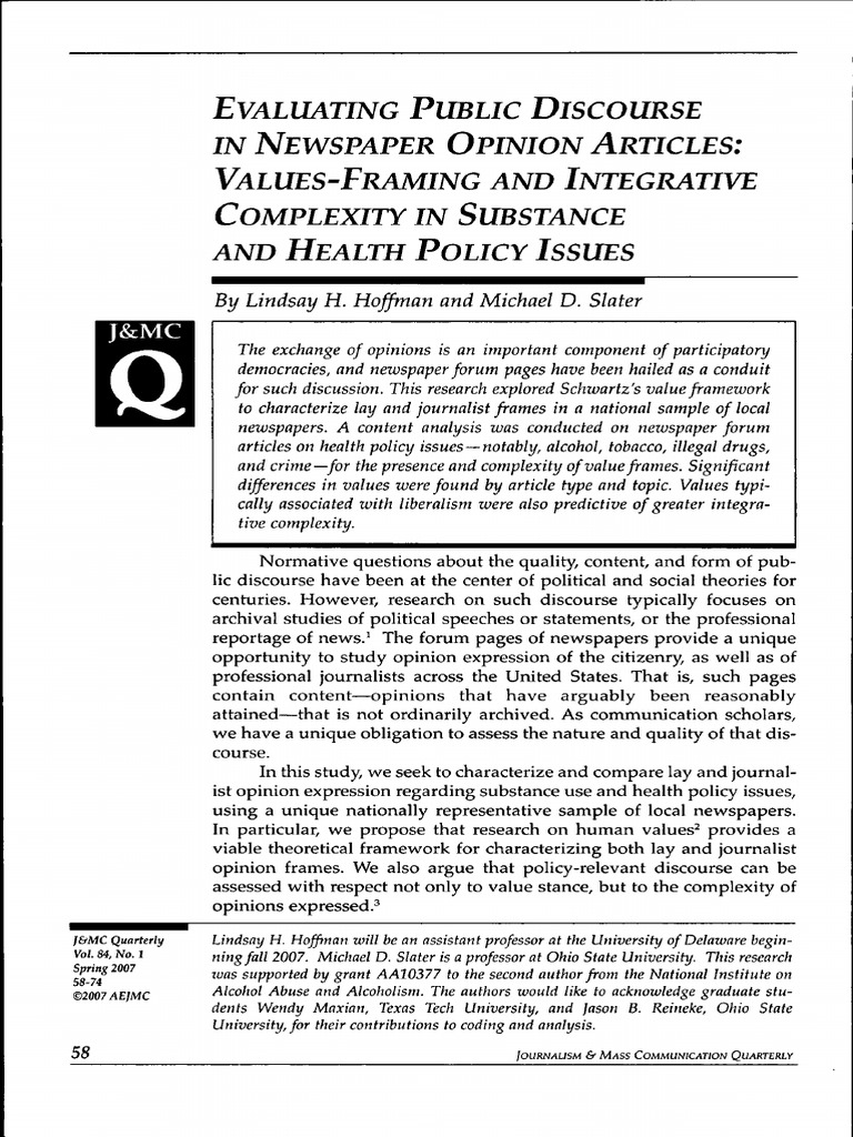 Evaluating Public Discourse in Newspaper Opinion Articles - Values ...
