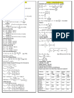 Mechanical Design Formula Sheet