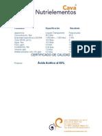 Certificado de análisis de acido acético inustrial