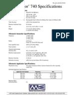 Mettler Sonicator 740 Spec Sheet