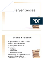 Simple Sentences (Subjects and Verbs) WR