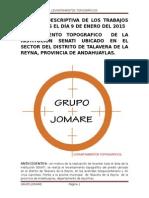 Memoria Descriptiva de Los Trabajos Realizados El Día 9 de Enero Del 2015