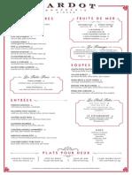 Bardot Brasserie dinner menu